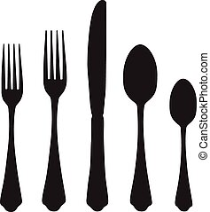 Knife, fork and spoon - Black silhouette of fork, knife and...