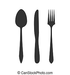 Knife, fork and spoon isolated on white background. Vector