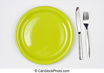 Knife, green plate and fork  - Knife, green plate and fork