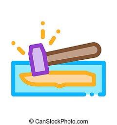Knife Hammer Icon Vector Outline Illustration