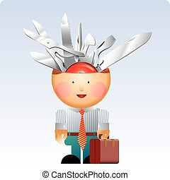 Little office man with a lot of multifunction swiss army knife in his head. A versatility concept