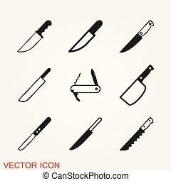 Knife icon in flat style isolated on background
