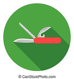 Knife icon in flat style isolated on white background. Camping symbol stock vector illustration.