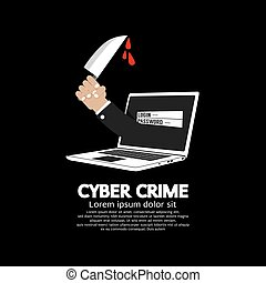Knife In Hand Cyber Crime Concept.