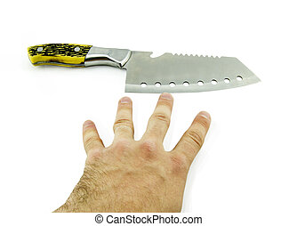 knife in hand isolated on a white background