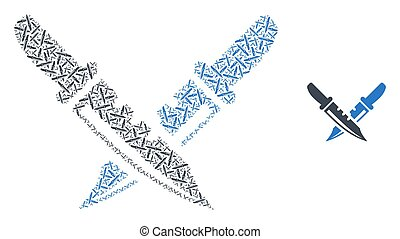 Knife Pair Fractal Composition of Self Icons - Vector knife ...