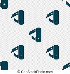 knife, picnic icon sign. Seamless pattern with geometric texture. Vector