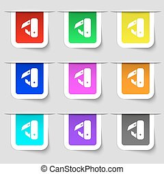 knife, picnic icon sign. Set of multicolored modern labels for your design. Vector