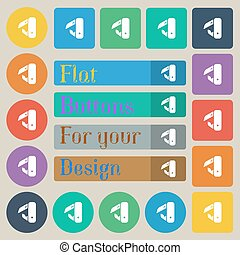 knife, picnic icon sign. Set of twenty colored flat, round, square and rectangular buttons. Vector