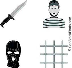 Knife, prisoner, mask on face, steel grille. Prison set...