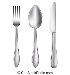 knife, spoon and fork on white