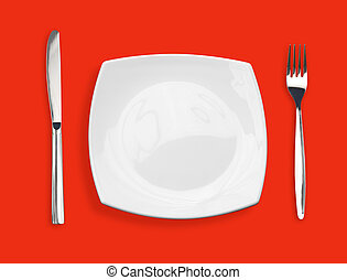 Knife, square white plate and fork on red background