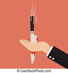 Knife stabbing into hand. Vector Illustration