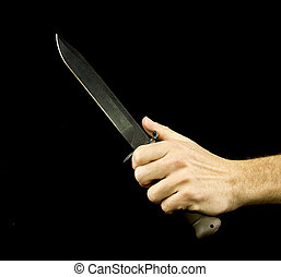knife and hand
