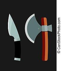Knife weapon dangerous metallic ax vector illustration of...