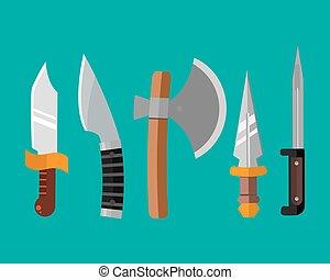Knife weapon dangerous metallic illustration of sword spear...