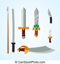Knife weapon dangerous metallic vector illustration of sword...