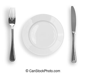 Knife, white plate and fork isolated