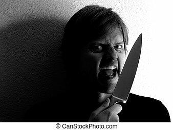 Knife wielding - Crazy fellow wielding a knife. Harsh ...