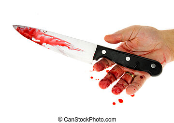 Knife with blood. Crime. A murder weapon.