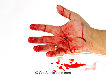 Knife with blood. Crime. A murder weapon. - A knife smeared ...