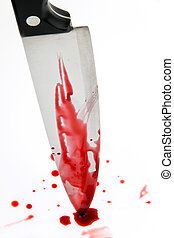 knife with blood. crime. a murder weapon. - a knife smeared...