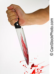 Knife with blood. Crime. A murder weapon