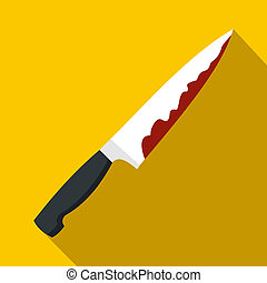 Knife with blood icon, flat style