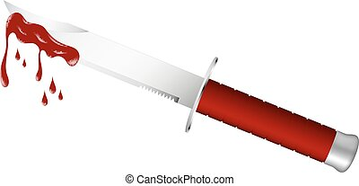 Knife with bloody blade - Knife with dark red handle and...