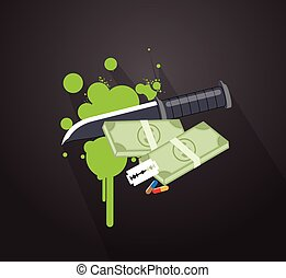 Knife with Money Vector Concept