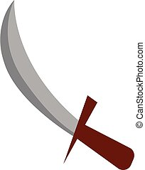 Knife with wooden handle vector or color illustration