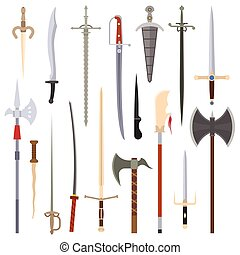 Knifes iron weapon collection. Vector swords, knifes, axe,...
