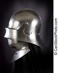 knight., 中世, よろいかぶと, 金属, に対して, 兵士, 保護, 武器, 対抗者