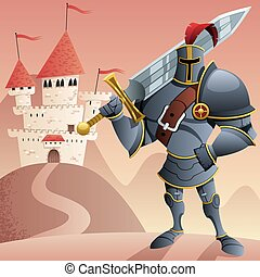 Knight 2 - Cartoon knight in front of castle. No...