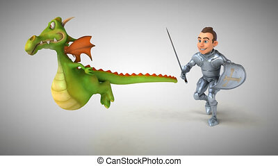 Knight and Dragon - 3D Animation