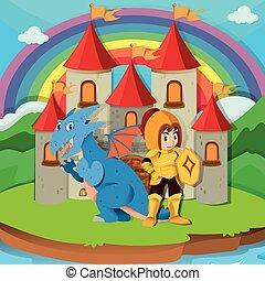 Knight and dragon at the palace