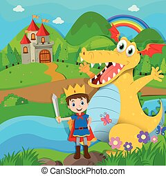 Knight and dragon on the fairy land