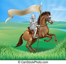 Knight and Horse with banner - A medieval knight in armor...