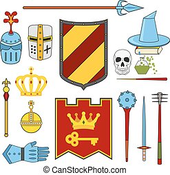 Knight and magic set - lance, shield, knights, helmets