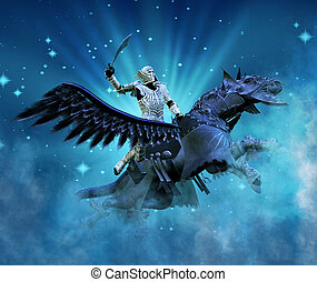Knight flies upward into the heavens atop his faithful Pegasus steed surrounded by a dark blue ground filled with light rays, stars and cosmic mist.