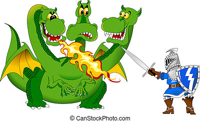 Knight and the Dragon - Knight attacks the fire-breathing...