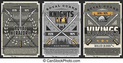 Knight and viking weapons, swords, sabres, spears