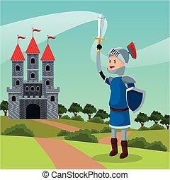 knight armor shield sword castle landscape