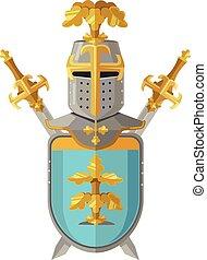 Knight armor. Vector flat cartoon illustration