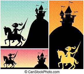 Knight Backgrounds - Set of cartoon banners with knight and...