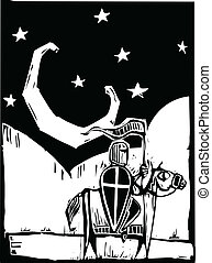 Knight beneath crescent moon - Knight riding a horse beneath...