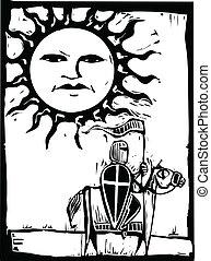 Knight beneath Sun Face - Knight riding a horse beneath a...