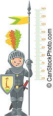 Knight boy. Meter wall or height chart.