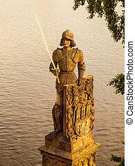 Knight Bruncvik statue on Charles bridge in Prague
