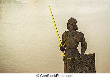Knight Brunswick (Bruncvik) Statue on Charles Bridge in Prague